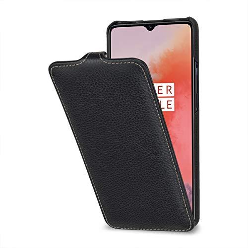 StilGut Hülle geeignet für OnePlus 7T Lederhülle vertikales Flip-Hülle, schwarz