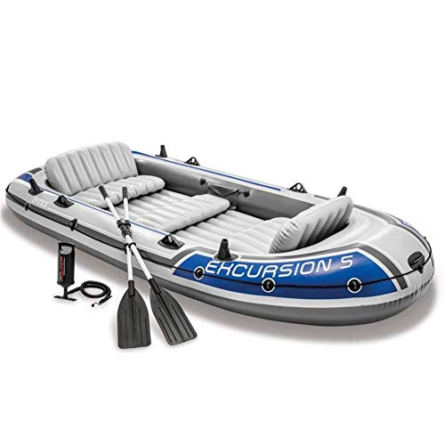 Challenger Kayak - 4-Personen-Faltkajak-Set Mit Schlauchboot, Aluminium-Rudern Und Fußpumpe - Leichtes Angelkajak Blau - Angler Und Freizeit (Size : 366 x 168CM - 5 Person)