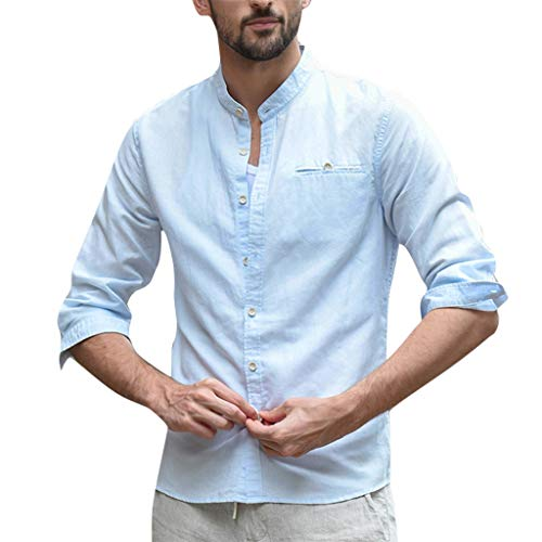 Andouy Herren Hemd Komfort Langarm Knopfleiste Shirt Slim Fit Leinen Baumwoll Revers Button Down Hemden(M.Hellblau-1)