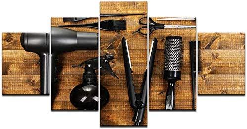 5 pinturas de lienzo lienzo arte de la pared cuadros decoración del hogar 5 piezas herramientas de peluquería tijeras peine pintura impresión barbería salón de belleza cartel