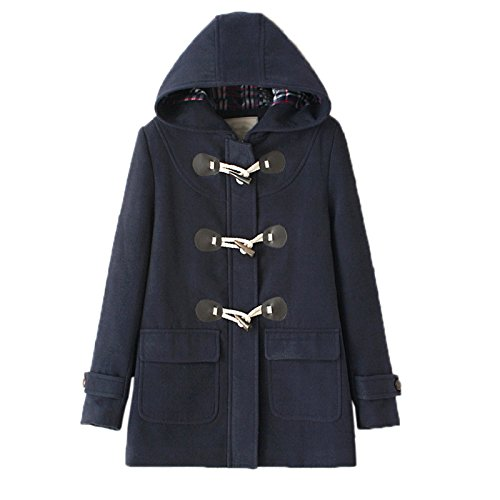 WSLCN Mid-Long Blouson à Capuche Femme Duffle Coat Bouton Corne Manteaux Hoodie Veste Décontractée Chaud en Drap Outwear Hiver Coat Automne Navy avec Doublure FR 44 (Asian X-Large)