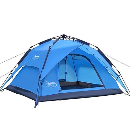 Yiciyici Automatische Wüste und Fuchs Zelt 3-4 Personen Zelt, einfache Installation sofortige tragbare Hintergrundverpackung für Sonnenschutz, Reisen, Wandern blau
