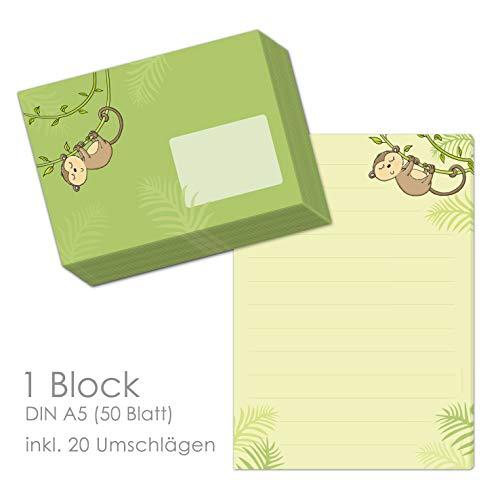 niedliches Briefpapier Set für Kinder mit Motiv AFFE ALFRED im Format DIN A5 (liniert 50 Blatt) inklusive 20 passenden Umschlägen