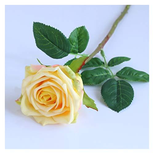 YONGYONGMY Künstliche Blumen Künstliche Blume Rose einzelne Rosa Rosen Blätter Zweig Seide Blumen für Vasen Hochzeit Braut Home Garten Dekoration Gefälschte Blumen (Color : 2)