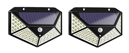 Par de focos de exterior Crepúsculos de energía solar con 100 LED