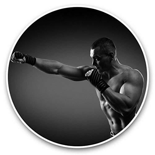 Fantastico adesivo in vinile (set da 2) 15 cm (bw) – Boxer Boxing MMA Gym Fitness Fun decalcomanie per computer portatili, tablet, bagagli, scrapbooking, frigoriferi, ottimo regalo #42622