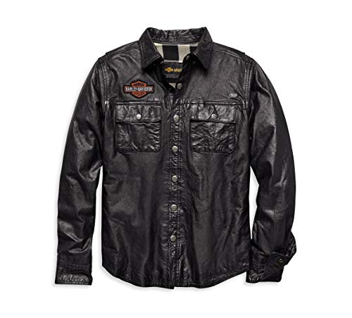 Harley-Davidson Men's Leather Shirt Jacket (Black, XL)
