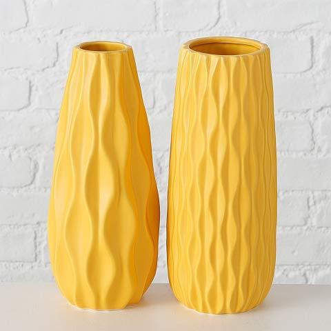 Bloominghome Vase 2er Set Steingut H24 cm gelb