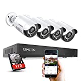【5MP】 Camstro Security Camera System, 4Pcs CCTV Wired Cameras and 4 Channel H.264 DVR, Free Remote Access, Human Detect Alert, 100Ft Night Vision, IP66 Waterproof, 24/7 Recording, 1TB Hard Drive