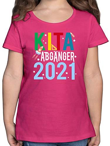 Einschulung und Schulanfang Geschenk - Kita Abgänger 2021 Bunt Rakete - 116 (5/6 Jahre) - Fuchsia - Spruch - F131K - Mädchen Kinder T-Shirt