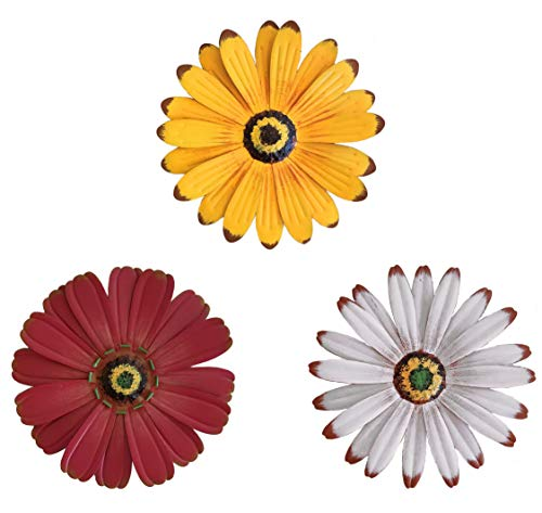 OSW Large Flowers Metal Wall Decor, One White, One Yellow, One Red Flower, for Indoor Living Room, Bedroom, Bathroom or Outdoor Art Garden and Patio