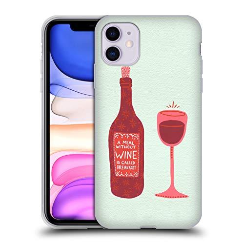 Head Case Designs Ufficiale Cat Coquillette Bottiglia E Bicchiere Vino Cover in Morbido Gel Compatibile con Apple iPhone 11
