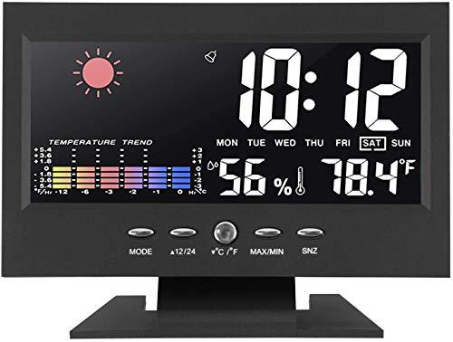 MECHEER Digitales Thermo-Hygrometer Innen Thermometer Luftfeuchtigkeitsmesser Raumthermometer mit LCD Farbdisplay Kalender Wecker Wetter Monitor für Innentemperatur Luftfeuchtigkeit Home Schlafzimmer