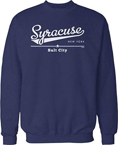 Hoodteez Syracuse, New York, Salt City Crew Neck Sweatshirt, M Navy