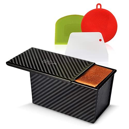 Hilistar Non-Stick Pullman Loaf Pan Set – Includes Lid Cover, Dough Scraper, Cutter, Sponge – Aluminum Pain De Mie Baking Box, Black Rectangle Toast Bread Bakeware – Large 8.27″ x 4.72″ x 4.41″ Size