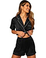 for Girlfriend Her Women's Sleepwear Short Pajama Set with Pj Shorts Satin Sleep Sets for Lingerie Party Costume (Black,XXL)