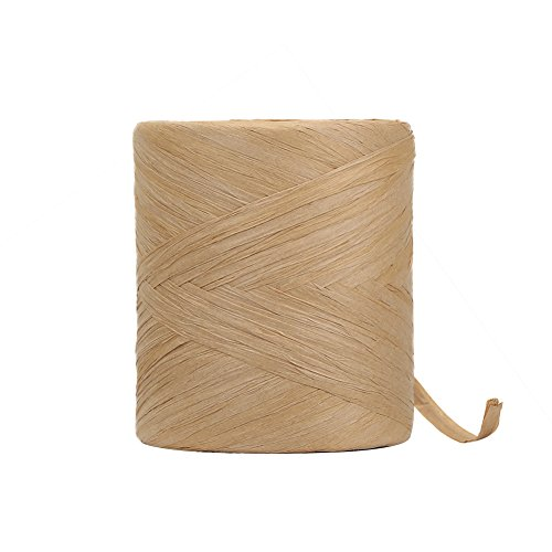Raffia Paper Craft Ribbon, 218 Yards by 1/4 inch Width Kraft Matte Paper Ribbon for Gifts, DIY Supply, Flower Bouquets, Wrapping Hanging Tags (Kraft)