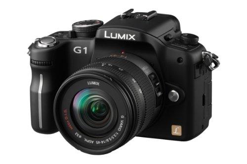 Panasonic Lumix DMC-G1K SLR-Digitalkamera (12 Megapixel, LiveView) schwarz inkl. Lumix G Vario 14-45 mm/ F3,5-5,6 asph./ OIS Objektiv