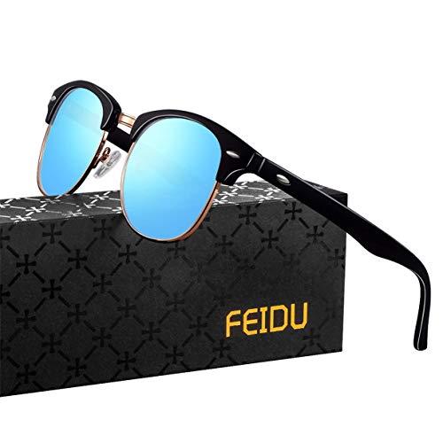 FEIDU Halbrahmen Polarisierte Klassische Metall Sonnenbrillen Herren-Retro Polarisierte Sonnenbrille Damen FD 3031 (Eisblau, 2.04)