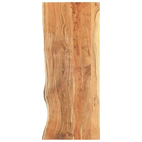 vidaXL Akazienholz Massiv Waschtischplatte Badezimmer Waschtisch Waschtischkonsole Platte Holzplatte für Aufsatzbecken Badmöbel Baumkante 140x55x3,8cm