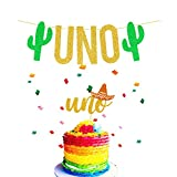 JeVenis Set of 2 UNO Cake Topper UNO Banner Fiesta Cake Topper Cactus UNO Cake Topper for Mexican Birthday Decoration Fiesta First Birthday Banner Taco About a Party