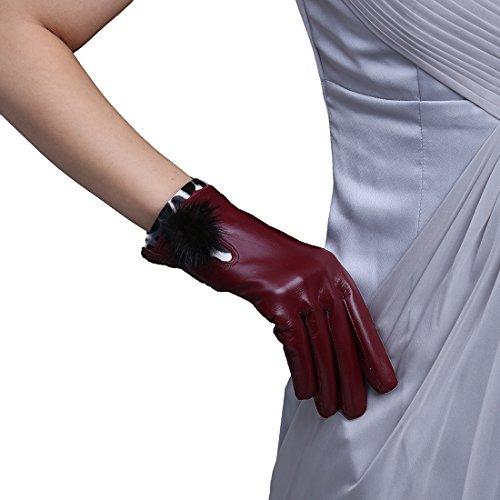 LissomPlume スマホ 手袋 レディース レザー手袋 革 裏起毛 冬 保温 暖かい ファー付 アウトドア タッチパネル グローブ