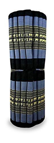 livasia Kapok Liegematte der Marke Asia Wohnstudio, 200cm x 110cm x 4,5cm; Rollmatte BZW. Yogamatte, Thaimatte, Thaikissen als asiatische Rollmatratze (blau/Elefanten)