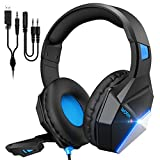 Mpow EG10 Gaming Headset für PS4 PS5 Xbox one PC Switch, 3.5mm Surround Sound Kabelgebundenes mit 50MM-Treiber, Over-Ear Gaming Headset mit Noise Cancelling-Mikrofon, Super Leicht LED Gaming Headset