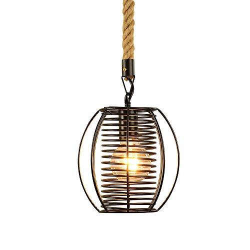 WEM Lámpara colgante vintage Pantalla de metal de alambre en espiral negro Luz de suspensión industrial, Accesorios de iluminación para colgar en el techo de estilo americano para restaurante, cafete