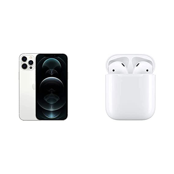 New Apple iPhone 12 Pro Max (128GB) - Silver with AirPods with Charging Case