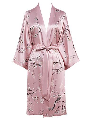 Coucoland Morgenmantel Damen Kurz Blumen Muster Kimono Satin Robe Sommer Leicht Bademantel Mini Damen Schlafmantel Elegant Nachtwäsche (Rosa)