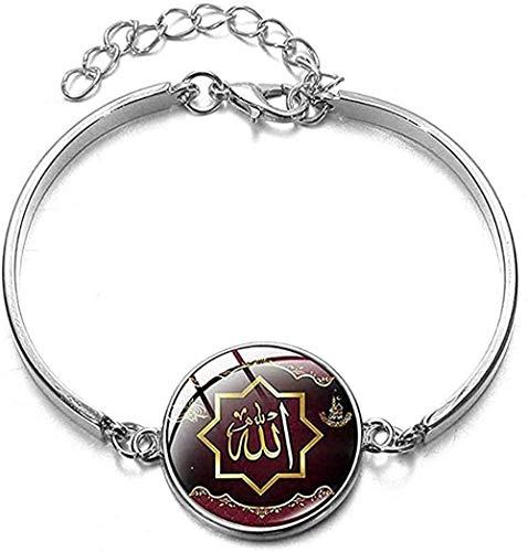 banbeitaotao Collar Clásico Islámico Musulmán Alá Cultura Pulsera Plateada Sagrado Ramadán Mubarak Patrón de Dibujos Animados Joyería de Muñeca Regalos del Festival