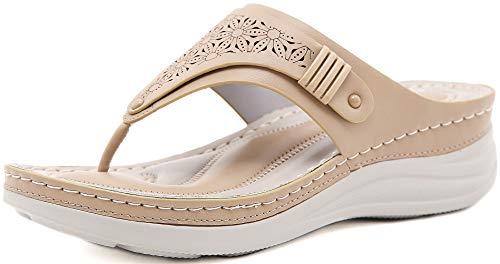 INMINPIN Chanclas de Cuña Mujer Verano Elegante Sandalias de Dedo Cuero Cómodo Plataforma Flip Flop Zapatillas de Playa Interior y Exterior,Caqui,39 Mujer