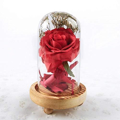 Belle en het beest Rode roos in een glazen koepel met LED-licht en basis voor Valentijnsdag Moederdaggeschenken Gratis schip, donkerrood, Frankrijk