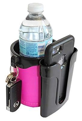 BikeCupHolder - Pink - Cell Phone - Keys - Holder Combo for Beach Cruiser - Commuter Bike