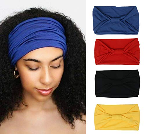 4 Pack Wide Headbands for Women Yoga Sport Workout Running Headband Large African Head Wrap (Pack 002)