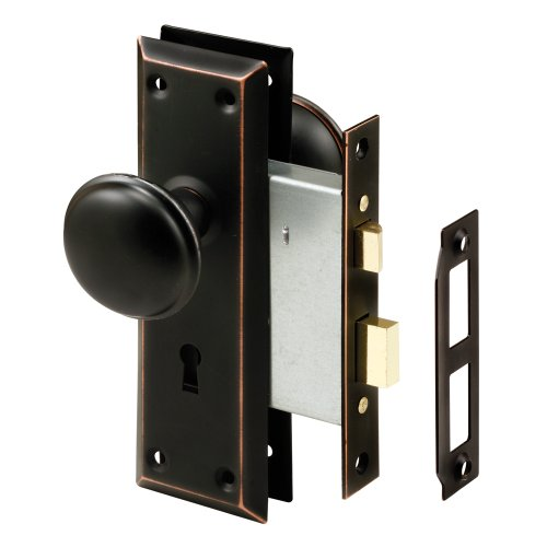 Prime-Line Products Classic Bronze Prime-Line E 2495 Mortise Keyed Knob – Perfect for Replacing Broken Antique Lock Sets and More, Fits 1-3/8 in-1-3/4 in. Interior Doors