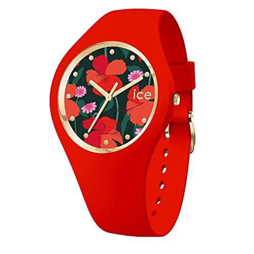 Ice-Watch - ICE Flower Floral Passion - Montre Rouge pour Femme avec Bracelet en Silicone - 017576 (Small)