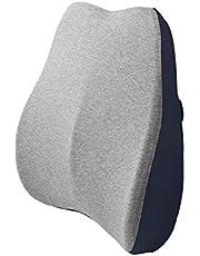 BEWALKER 腰クッション ランバーサポート 低反発クッション 背中腰楽 腰枕 背当て メモリーフォーム オフィス 椅子用クッション 介護用 車用クッション 背もたれ 取付バンド カバー洗える (ブルー)