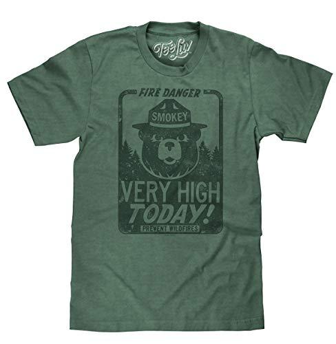 "Smokey the Bear ""Fire Danger Very High Today"" tri-blend T-shirt-medium Dark green heather"