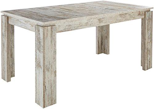 trendteam smart living Esszimmer Küchentisch Esstisch Tisch Universal, 160 x 77 x 90 cm in Canyon White Pine mit Ausziehfunktion