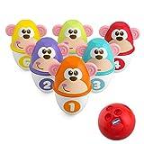 Chicco Monkey Strike Kids Bowling Set - Kegelspiel für Kinder mit 6 trennbaren Pins, stapelbar in 12 Teile, inklusive Kunststoffball - Kegelspielzeug, Geschenke für Kinder von 18 Monaten bis 8 Jahren