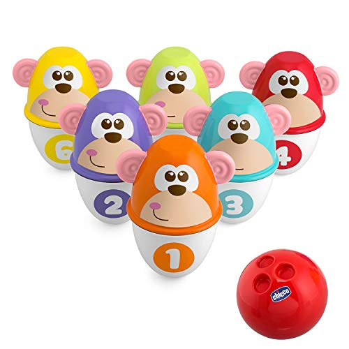Chicco Monkey Strike Kids Bowling Set - Kegelspiel für Kinder mit 6 trennbaren Pins, stapelbar in 12 Teile, inklusive Kunststoffball - Kegelspielzeug, Geschenke für Kinder von 18 Monaten bis 8 Jahren