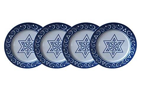 Hanukkah Melamine Plates - Set of 4 Dinner Plates 11 Star Of David Plate Set (Star of David Embroidered Edge)