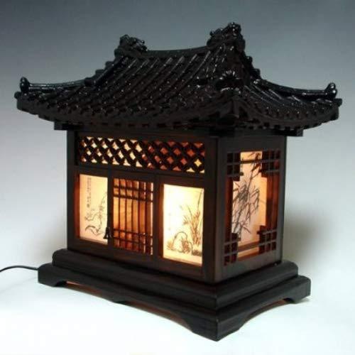 Houten lampenkap Handgemaakte Traditionele Koreaanse Huis Ontwerp Art Lantaarn Bruin Aziatische Oosterse Decoratieve Bedzijde Slaapkamer Accent Ongebruikelijke Home Decor Tafellicht