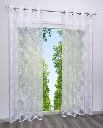 Home U Lot de 1 Panneau Rideau Voilage Semi-Transparent Blanc avec Décoration Transparent (LxH 140x225cm, Blanc Motif Rond-Oeillet)
