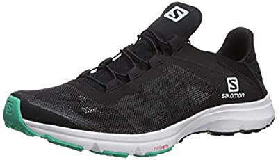 Salomon Women's Amphib Bold Athletic Water Shoes, Black/White/Electric Green, 8.5