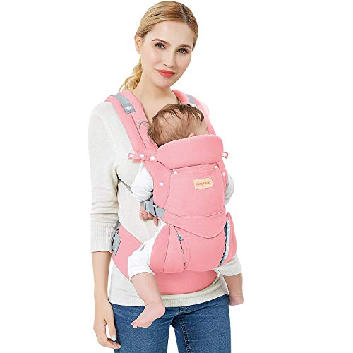 Fimghsoo Ergonomic Baby Carrier - All Carry Positions, Easy Breastfeeding, Fits for 3-36 Month Baby, Lightweight Breathable Baby Carriers Front and Back, Perfect Baby Shower Gifts (Pink)