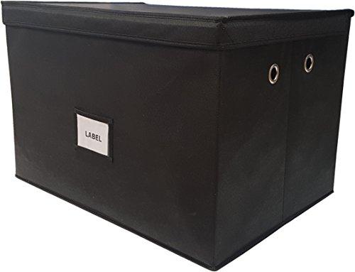 Neusu Faltbare Aufbewahrungsbox (Super-Jumbo XXL (1-er Pack), Schwarz mit Metallgriffen)