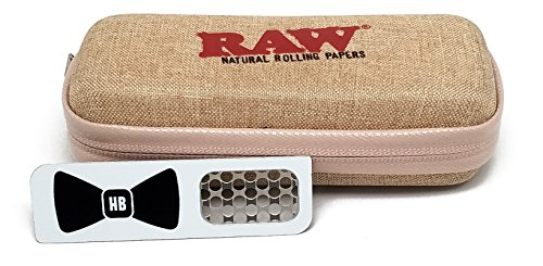 Bundle - 7 Items - RAW Hard Shell Travel Case with 1 1/4 Rolling Paper, 79mm Roller, Tips, Hemp Wick and Hippie Butler Grinder Card